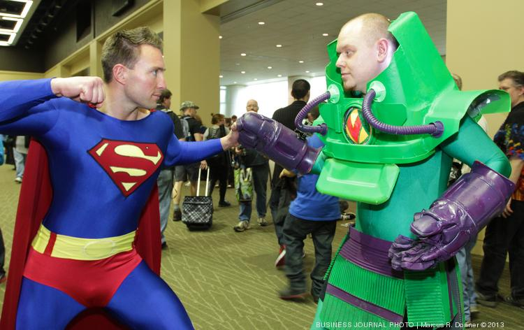 Spencer Voykin, 35, as Superman, and Clay Stooshnoff, 31, as Lex Luthor, drove  for seven hours from Castlegar, Canada, to attend the three-day Emerald City Comicon at the Washington State Convention Center in Seattle.