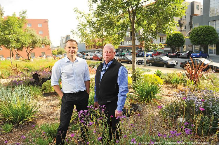 Developer Michael Yarne, left, and Dogpatch resident Bruce Kin Huie are attempting to grow support for a green benefits district.