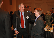 Dr. Joe Robertson (left) and Trey Winthrop of Bob's Red Mill share a chuckle at Thursday's Portland Business Journal CFO of the Year awards in downtown Portland.
