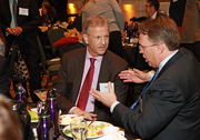 Norm Duffett, the Orca Capital financial ace who served as a judge for the Business Journal's CFO of the Year awards, talks with the San Francisco Fed's John Williams before Thursday's event.