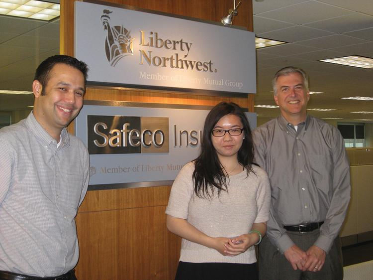 Rainier Scholar Suk-Lin Zhou, center, worked with supervisors Chuck Blondino, right, and Gabriel Gonzalez during her summer 2012 marketing internship with Safeco.