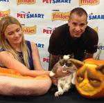 Grumpy Cat sees her first Grump-o-Lantern today, and was not happy (Video)