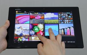 A Sony Corp. Xperia Tablet Z is displayed for a photograph in Tokyo, on Monday. Sony plans to make its mobile-device business profitable next fiscal year as it boosts shipments of smartphones, Kunimasa Suzuki, president and chief executive officer of Sony Mobile Communications, said.