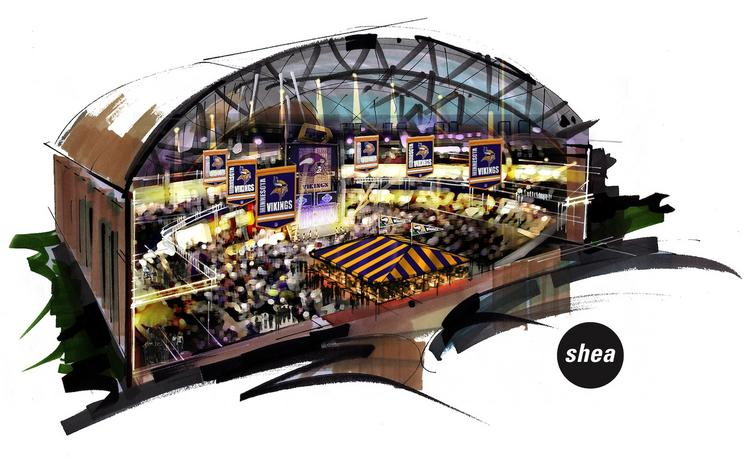 A conceptual rendering of a multi-purpose event space proposed in the historic Minneapolis Armory. The drawing shows the bleachers as removed, however, they would be preserved and used based on the developer's most recent plans.