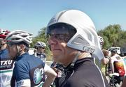 Pasquale Romano, ChargePoint president and CEO, wins the prize for best helmet at the Silicon Valley Time Trial Charity Challenge Friday morning.