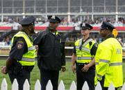 Members of the Baltimore Police Department coordinate during Preakness at Pimlico Race Course on Saturday.