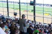 Fans watch the track during at Pimlico Race Course on Saturday.