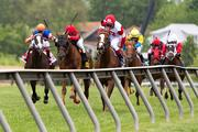 Redwood Kitten, center, races to victory under Joel Rosario in the James W. Murphy Stakes.