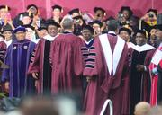 President Obama greets the faculty at Morehouse 129th commencement ceremonies.