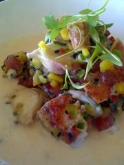 Lobster & Octopus Salpicon: coconut-chile broth with mango, tomato, Fresno, chives and black sesame seed.