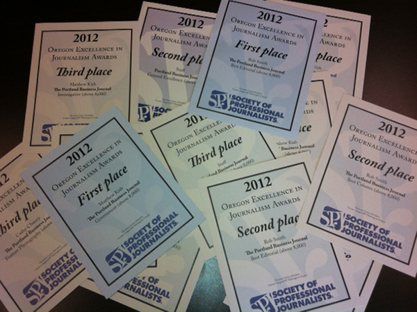 The Portland Business Journal won 23 awards at the 2013 Society of Professional Journalists Oregon and Southwest Washington banquet.