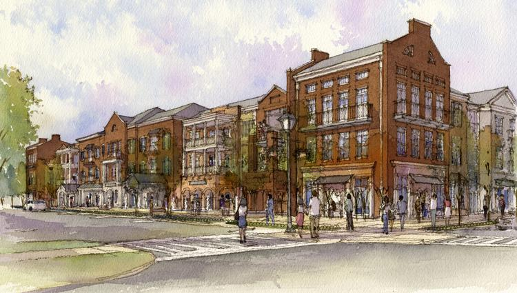 A rendering shows what the Dublin Village Center could look like after redevelopment.