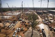 A photo taken in April of the construction at Exxon Mobil's campus. The company will consolidate at least 10,000 employees at the campus, starting next year.