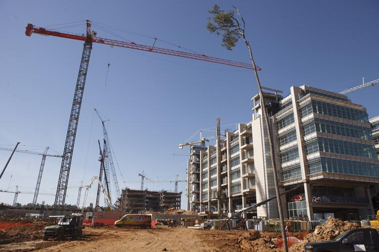 A view of the new Exxon Mobil campus under construction south of the Woodlands.
