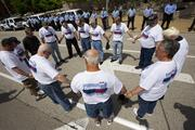 Members of the United Mine Workers of America protest against Peabody Energy and Arch Coal Tuesday.