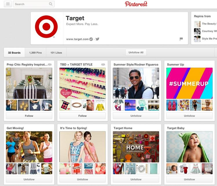 Target's Pinterest page includes product shots and images that customers shared.