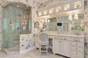 The owner's suite bathroom has an oversized vanity and steam shower.