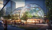 A view of Amazon's round building planned for its downtown Seattle campus, viewed at Seventh Avenue and Lenora Street.