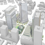 A view from above of Amazon's round building planned for its new downtown Seattle campus.