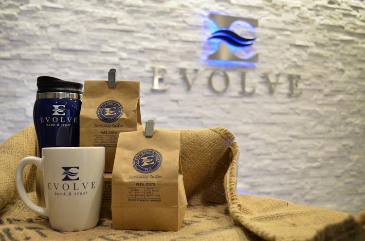 A bag of Evolve Bank's new coffee blend.