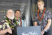 From left, Hawaii Gov. Neil Abercrombie, David Striph, senior vice president of Hawaii for Dallas-based Howard Hughes Corp., and Nick Vanderboom, senior vice president of development for Howard Hughes Corp.