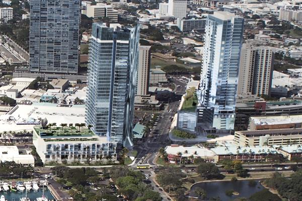 This rendering shows The Howard Hughes Corp.'s planned market-rate condominium towers, which located diagonally across the street from each other at the corner of Auahi and Kamakee streets, part of the developer's Ward Village master-planned community.
