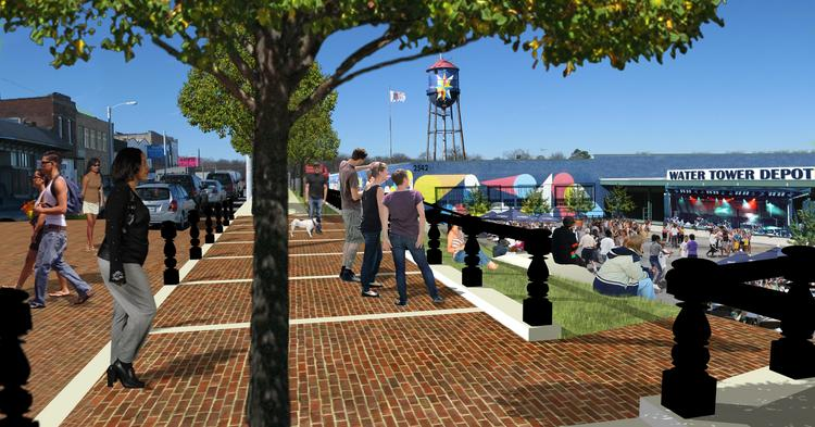 An artists rendering of the proposed outdoor arts venue at the Broad Avenue Water Tower Depot.