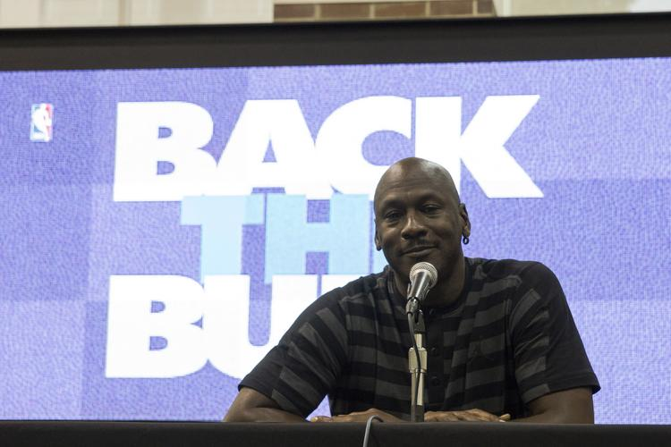 Bobcats owner Michael Jordan announces the team's application to the NBA to change its name to the Charlotte Hornets in the 2014-15 season.