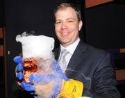Brian Watson looks cool with a container of dry ice.