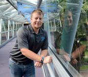Lloyd Parker on the glass bridge that leads into Orlando Science Center. That's kind of an aquarium.