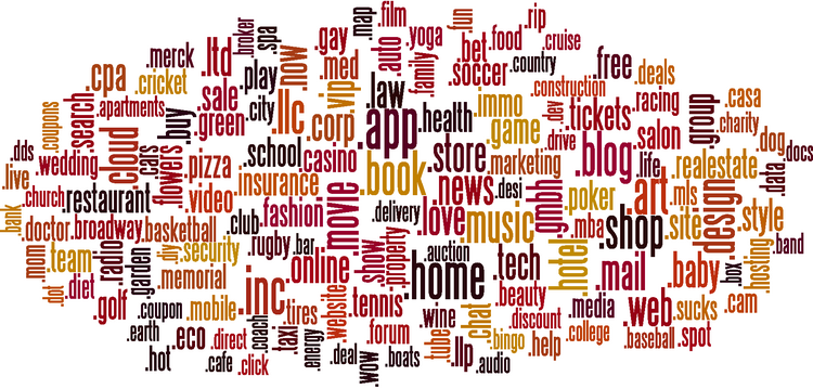 Top-level domain auction house Cramton Associates created a word cloud to visually represent the domains with the most applications. Bellevue-based Donuts will be part of 63 private auctions of some of these words in June.