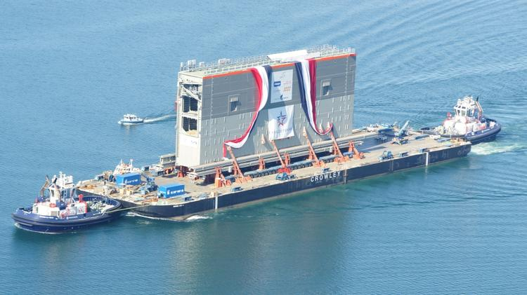 The Crowley heavy barge delivered a new gate to the Panama Canal expansion project on Oct. 27.