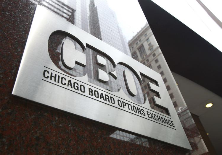A CBOE plaque is seen near the front entrance to the Chicago Board Options Exchange.