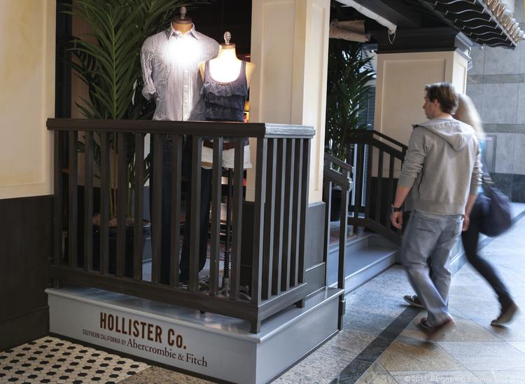 Customers enter a Hollister Co. store, owned by Abercrombie & Fitch Co., in Oberhausen, Germany