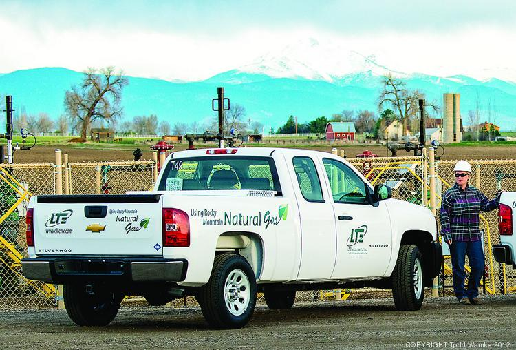 One of two compressed natural gas-powered trucks that LT Environmental Inc., of Arvada, is adding to its 42-vehicle fleet. The company provides environmental engineering, safety and compliance work for oil and gas companies and has offices in Colorado, New Mexico, Utah and Wyoming.