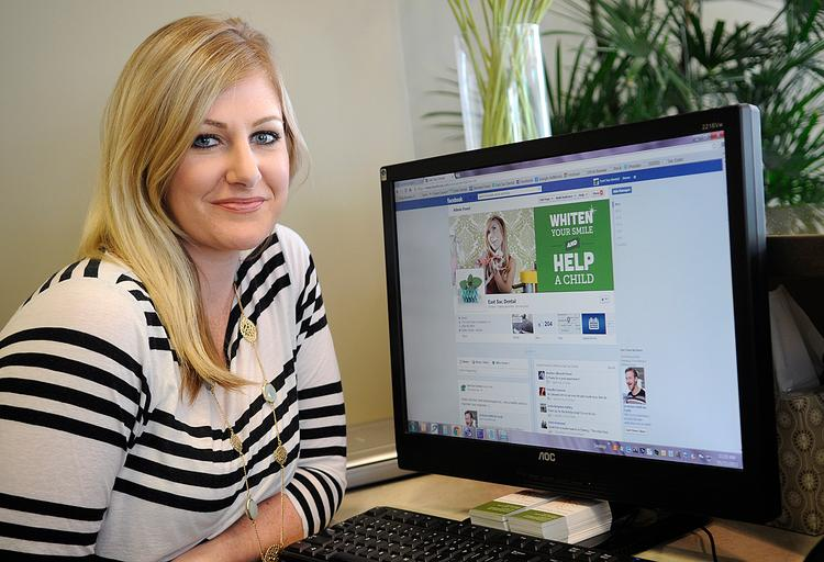 Tamsin Moss, East Sac Dental patient coordinator and marketing director, uses Facebook to interact with customers and offer specials.