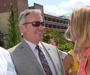 Orlando Mayor Buddy Dyer chats with Kathy Ramsberger shortly after his arrival.