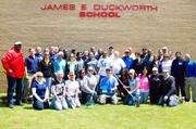 During an annual Clean Up Day on May 14, nearly 90 members of the Apartment and Office Building Associate gathered in Prince Georg'e County to help landscape grounds, plant flowers, clean walls and paint a school trailer for the James E. Duckworth School for children with disabilities.