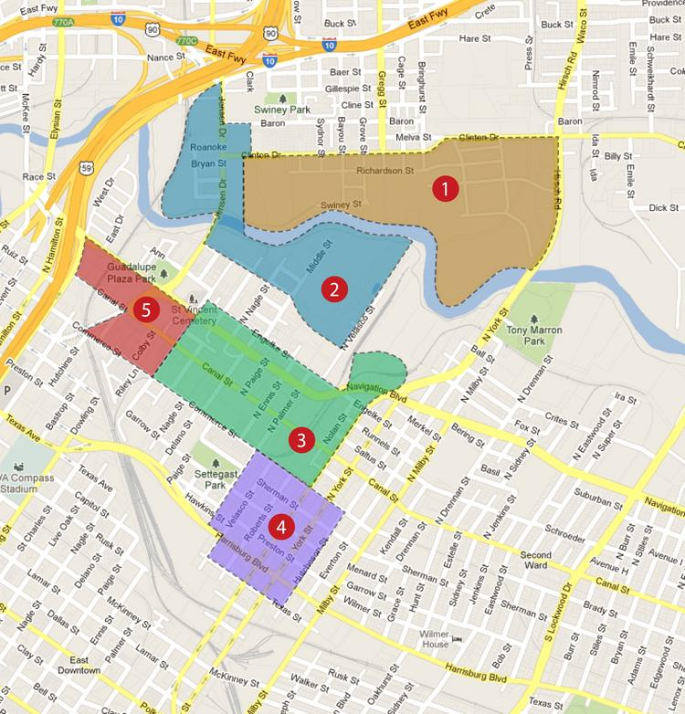 Five areas highlighted by the Greater East End District for possible commercial development: 1. KBR Site -- 133 acres owned by one property owner 2. Bayou Village -- 91 acres total 3. Streetcar District -- 64 acres total 4. York TOD -- 35 acres total 5. Gateway -- 26 acres total