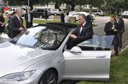 O'Connell rides shotgun to let Tillis take the Tesla S P85 for a spin.