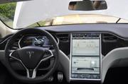 The dashboard of the Tesla is a touch screen.