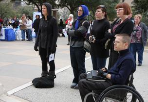To the right: Chase Bearden with the Coalition of Texans with Disabilities.
