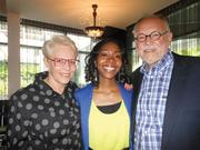 """Lynn Behar (left), an oncology social worker, and her husband, Howard Behar (right), former Starbucks president, recently hosted a fundraiser for playwright and director Malika Lee (center), author of the play, """"The Purification Process."""""""