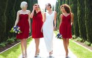 The collection includes 10 styles of dresses for bridesmaids, four styles for brides, and two styles for flower girls.