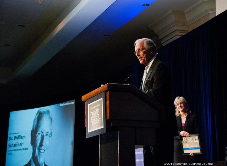 Lifetime Acheivement Award winner Dr. William Schaffner presents his speech at the Nashville Business Journal's Health Care Heroes celebration luncheon Thursday at the Renaissance Hotel.
