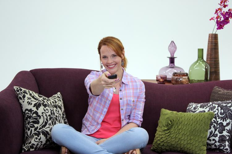 Katie Leclerc, a star in ABC's Switched at Birth, interacts with a Purple Communications device that allows people who use sign language to communicate with hearing people via video conference and a video interpreter.   Purple Communications and Tely Labs have created a videophone that they say will change the way deaf and hard-of-hearing people make and receive calls.