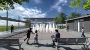 The carousel will be positioned on a plaza with water features and trees at the end of Vine Street.
