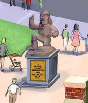 The statue of Jebediah Springfield will stand tall in Springfield. Check out sweet explorer's pose!