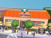 """The Krusty Burger will be the place to sit down and nibble on a """"Krusty-certified meat sandwich"""" ... whatever that means. The area also will have a Frying Dutchman, Luigi's Pizza and a taco spot featuring Bumblebee Man. Ay, caramba!"""