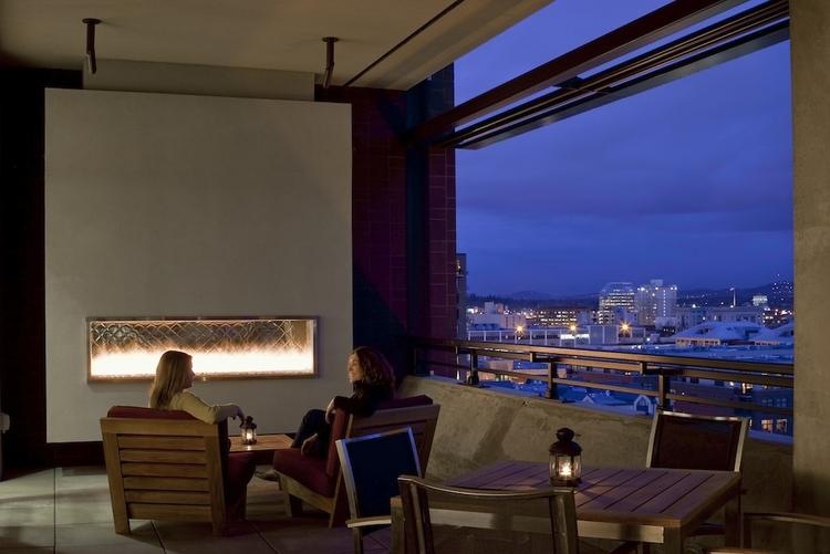 An outdoor fireplace takes the chill off Portland's cold winter nights on Ater Wynne's ninth floor deck in the Pearl District. Click through the gallery to see inside Ater Wynne's Cool Space.